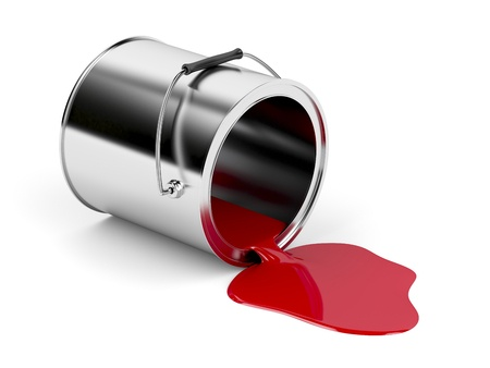 41983175 red spilled paint from metal canister